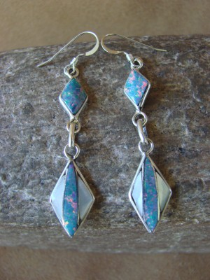 Zuni Indian Jewelry Sterling Silver Inlay Earrings Jonathan Shack - LL0166