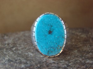 Native American Jewelry Sterling Silver Turquoise Inlay Men's Ring! Size 11 1/2 RJ