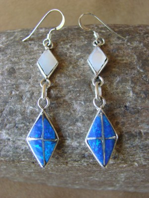 Zuni Indian Jewelry Sterling Silver Inlay Earrings Jonathan Shack - LL0167