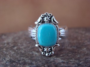 Native American Jewelry Sterling Silver Turquoise Ring! Size 6 Platero