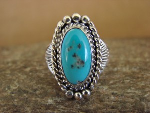 Native American Indian Jewelry Sterling Silver Turquoise Ring, Size 5 Mariano