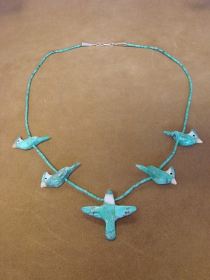 Hand Carved Turquoise Blue Jay Bird Fetish Necklace by Matt Mitchell!