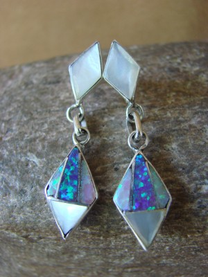 Zuni Indian Jewelry Sterling Silver Inlay Earrings Jonathan Shack - LL0168