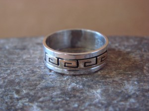 Native American Sterling Silver Gold Fill Petroglyph Ring by Skeets! Size 6 1/2
