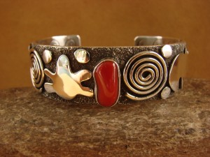 "Navajo Indian Sterling Silver Coral 3/4"" Petroglyph Bracelet by Alex Sanchez!"