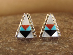 Zuni Indian Jewelry Sterling Silver Inlay Post Earrings by Francine Chopito