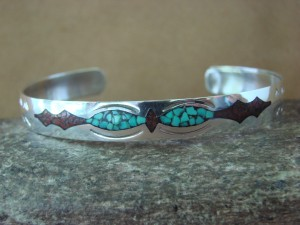 Native Indian Sterling Silver Turquoise and Coral Chip Inlay Bracelet by Yazzie