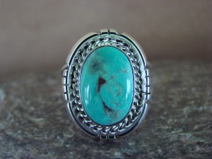 Native American Indian Jewelry Sterling Silver Turquoise Ring, Size 8 S. Yellowhair