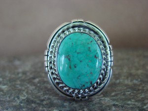 Native American Indian Jewelry Sterling Silver Turquoise Ring, Size 9 1/2 S. Yellowhair