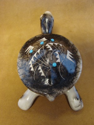 Native American Pottery Turtle Trinket by Vail! Navajo Sculpture Pot