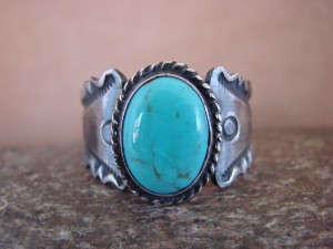 Native American Jewelry Sterling Silver Turquoise Ring!  Size 14