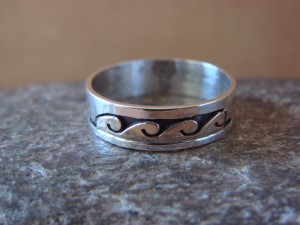Native American Sterling Silver Gold Fill Petroglyph Ring by Skeets! Size 10