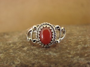Navajo Indian Jewelry Sterling Silver Coral Ring Size 5 1/2 by Letricia Largo