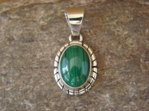 Navajo Indian Jewelry Sterling Silver Malachite Pendant by Skeets KK0212