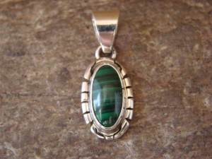 Navajo Indian Jewelry Sterling Silver Malachite Pendant by Skeets KK0211