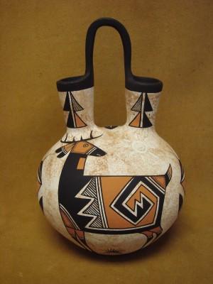 Acoma Indian Pottery Handmade & Painted Deer Wedding Vase by Westly Begaye!