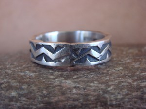 Native American Jewelry Sterling Silver Handstamped Ring! Size 13