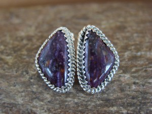 Native American Sterling Silver Purple Spiny Oyster Post Earrings! J.Largo