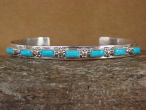 Zuni Indian Jewelry Sterling Silver Turquoise Cluster Bracelet Ernest Bewanika