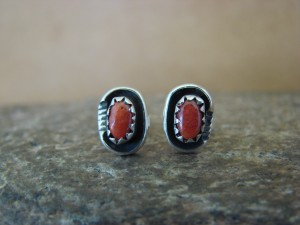 Native American Sterling Silver Coral Post Earrings! Handmade!