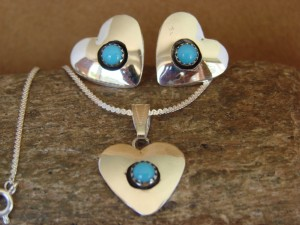 Native American Sterling Silver Turquoise Heart Necklace & Earrings Gift Set!