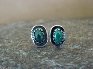 Native American Sterling Silver Malachite Post Earrings! Handmade!