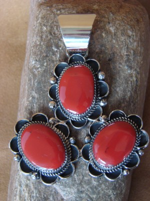 Native American Jewelry Nickel Silver Red Howlite Pendant by Jackie Cleveland!
