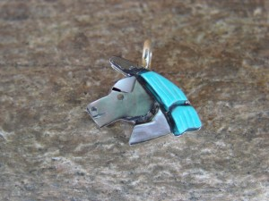 Zuni Indian Sterling Silver Multi-Stone Inlaid Horse Pendant by Lonjase