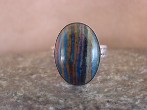 Navajo Indian Jewelry Handmade Sterling Silver & Calsilica Ring! Size 8