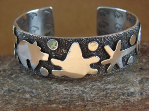 "Navajo Indian Sterling Silver 3/4"" Petroglyph Bracelet by Alex Sanchez!"