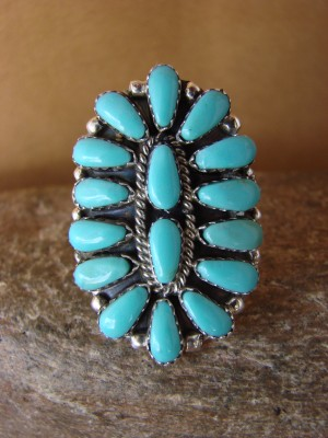 Native American Jewelry Sterling Silver Turquoise Cluster Ring, Size 7.5