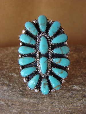 Native American Jewelry Sterling Silver Turquoise Cluster Ring, Size 9