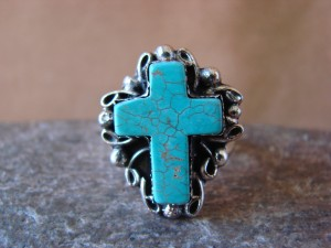 Native American Nickle Silver Turquoise Ring Size 9, by Phoebe Tolta