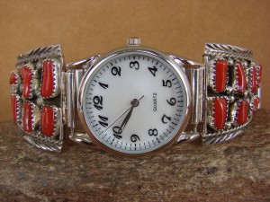 Native American Indian Jewelry Sterling Silver Coral Watch