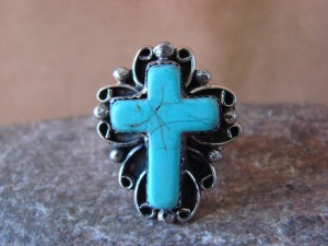 Native American Nickle Silver Turquoise Ring Size 8 1/2, by Phoebe Tolta