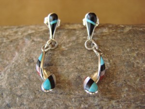 Zuni Indian Inlay Turquoise Swirl Post Sterling Silver Earrings-  Idella Edaakie