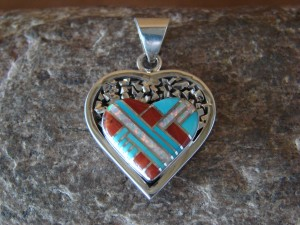 Native American Jewelry Sterling Silver Turquoise Inlay Pendant!