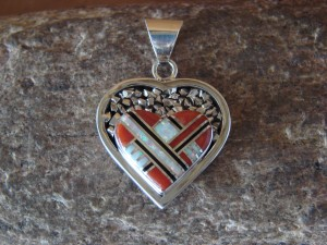 Native American Jewelry Sterling Silver Coral Inlay Pendant!