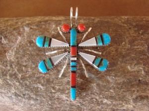 Zuni Indian Sterling Silver Turquoise & Coral Dragonfly Pin! Wayne Haloo
