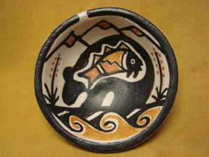 Small Santo Domingo Kewa Handmade & Painted Bear Bowl By Billy Veale!