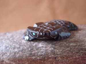 Zuni Indian Hand Carved Black Marble Horned Toad Fetish Carving Russell Shack!