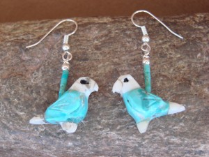 Hand Carved Turquoise Parrot Bird Fetish Earrings by Matt Mitchell!