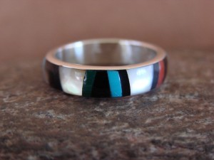 Zuni Indian Sterling Silver Multistone Inlay Band Ring by Ukestine Size 6 1/2