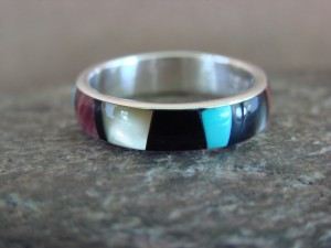 Zuni Indian Sterling Silver Multistone Inlay Band Ring by Ukestine Size 7