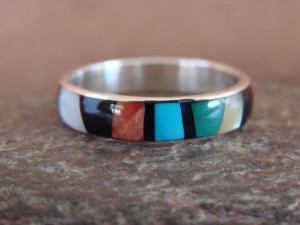 Zuni Indian Sterling Silver Multistone Inlay Band Ring by Ukestine Size 10 1/2