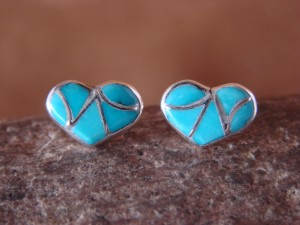 Zuni Indian Jewelry Sterling Silver Turquoise Inlay Heart Post Earrings!