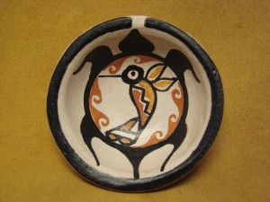Small Santo Domingo Kewa Handmade & Painted Turtle Bird Bowl By Billy Veale!