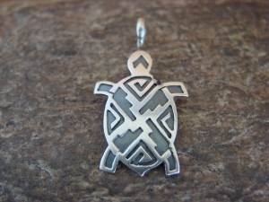 Navajo Indian Sterling Silver Turtle Pendant by Robert Gene