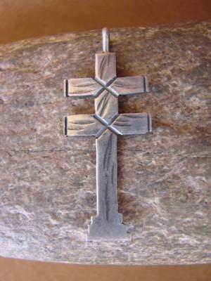 Navajo Indian Hand Stamped Sterling Silver Cross Pendant! Virgil Begay