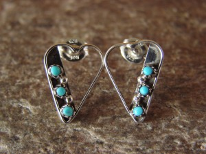 Small Zuni Indian Jewelry Sterling Silver Turquoise Heart Post Earrings!